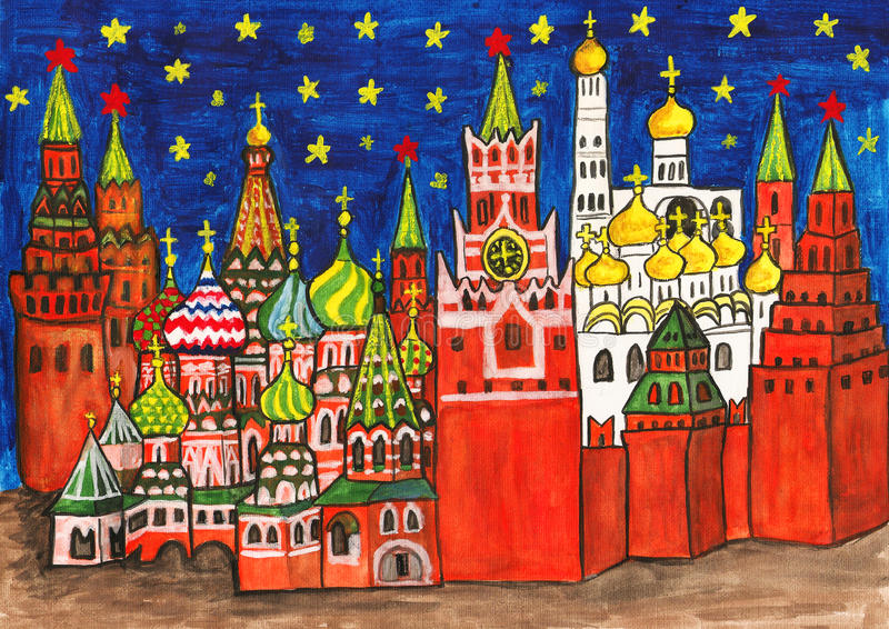 Moscow som målar stock illustrationer