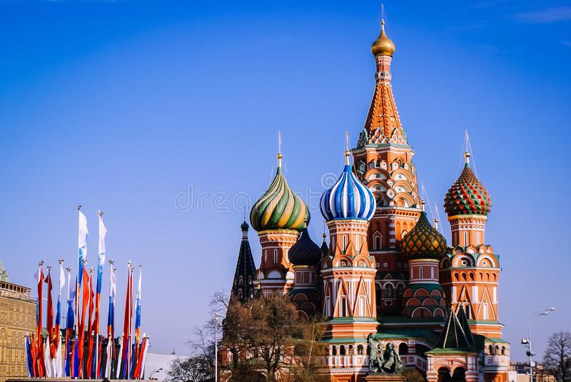 Moscow St. Basil`s Cathedral on Red Square, Russian tourism royalty free stock photo