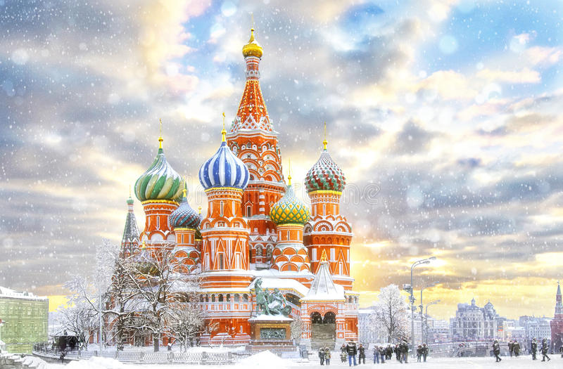 Moscow, St. Basil`s Cathedral stock images