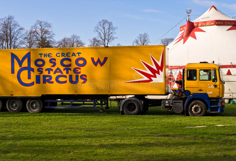 Moscow State Circus. Truck and Big Top of the Moscow State Circus in a public park. Shrewsbury, England stock photography