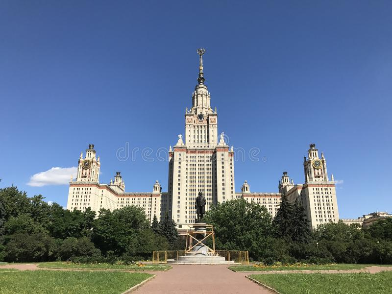 Moscow State University building and Lomonosov monument royalty free stock images