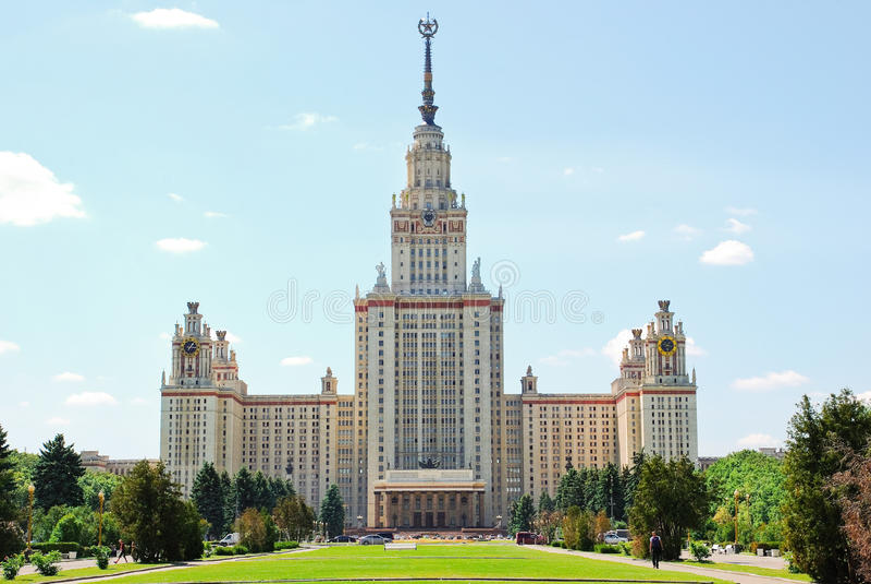 Moscow state University. M. V. Lomonosov. The main building of Moscow state University. M. V. Lomonosov Moscow state University on Vorobyovy Gory stock photos