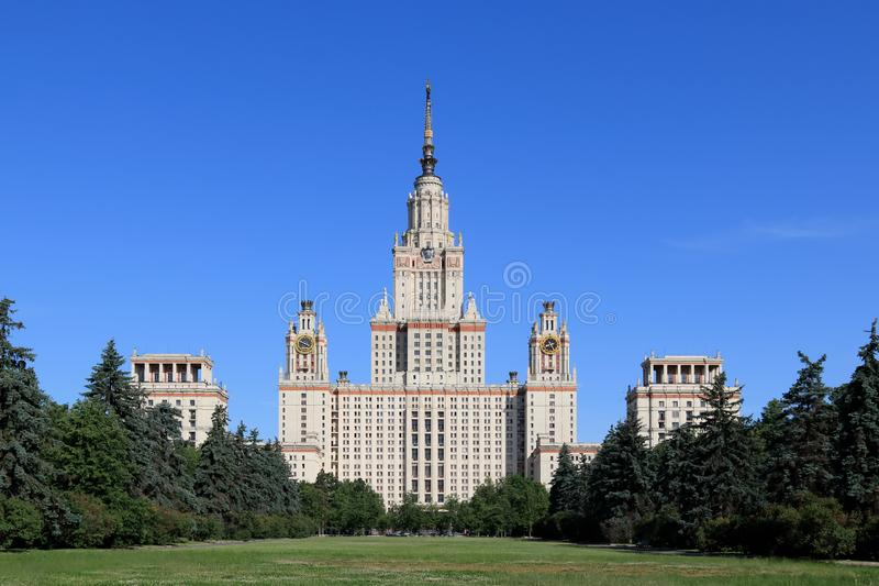 Moscow State University named after Lomonosov. Moscow State University named after Mikhail Vasilyevich Lomonosov is one of the oldest and largest universities in royalty free stock photos