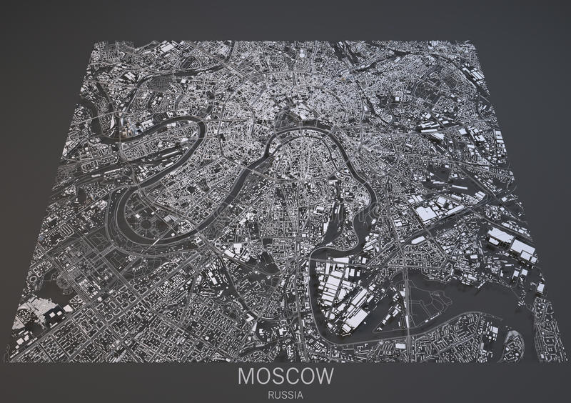 Moscow streets and buildings 3d map, Russia vector illustration