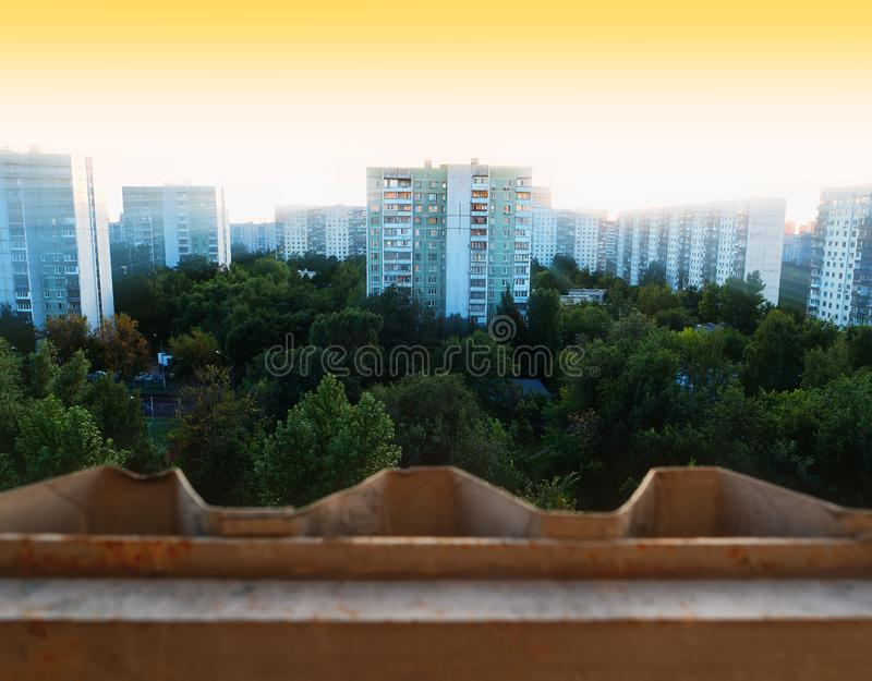 Moscow suburbs city sunset background. Horizontal orientation vivid vibrant color bright spacedrone808 rich composition design concept element object shape stock images