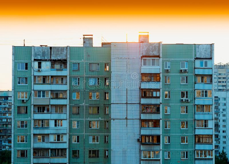 Moscow suburbs durung sunset: USSR buildings. Vertical spacedrone808 orientation vivid vibrant color bright rich composition design concept element object shape royalty free stock images