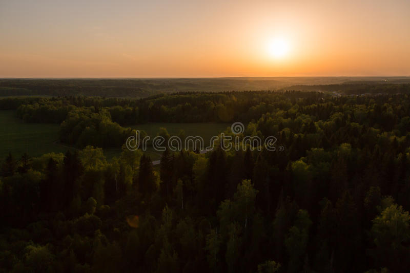Moscow suburbs. In the evening bird's-eye view royalty free stock image