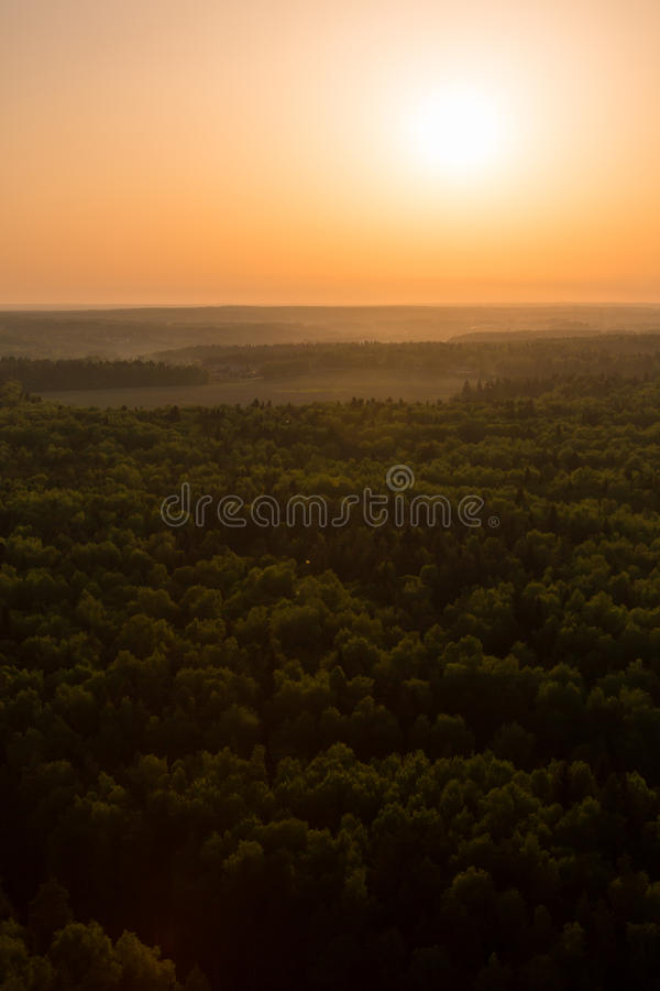 Moscow suburbs. In the evening bird's-eye view royalty free stock images