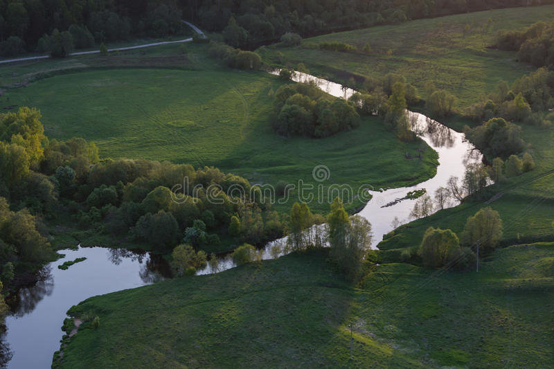 Moscow suburbs. In the evening bird's-eye view stock photography