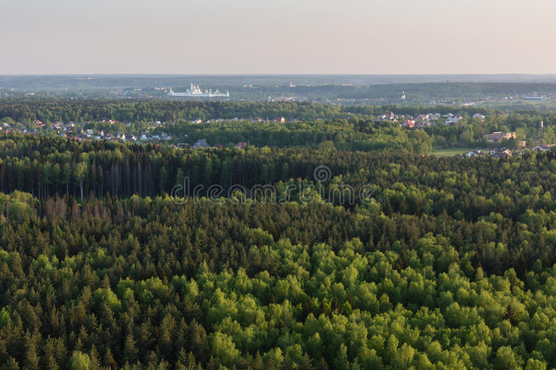 Moscow suburbs. In the evening bird's-eye view royalty free stock photos