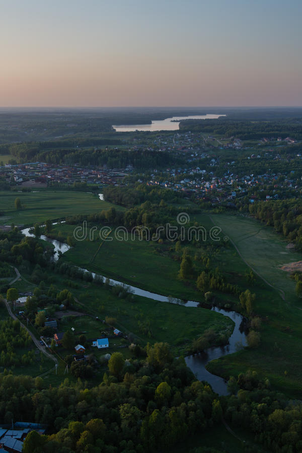 Moscow suburbs in the evening. Bird's-eye view royalty free stock images