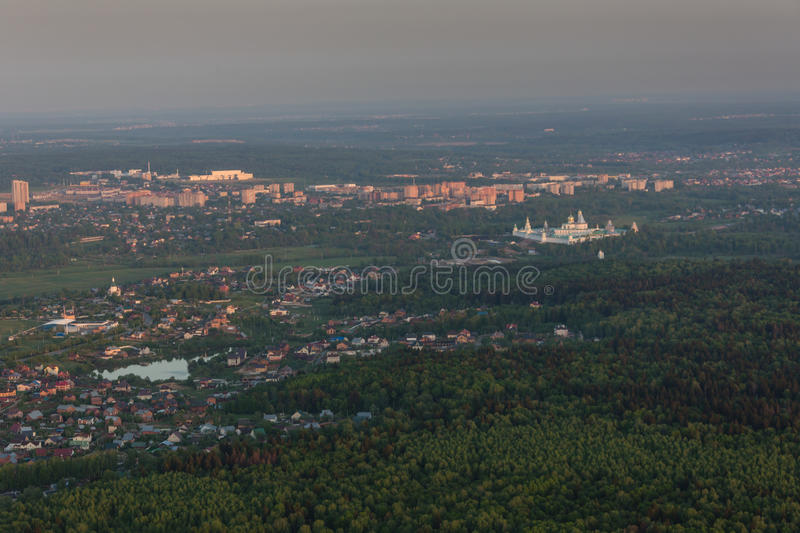 Moscow suburbs in the evening. Bird's-eye view stock photography