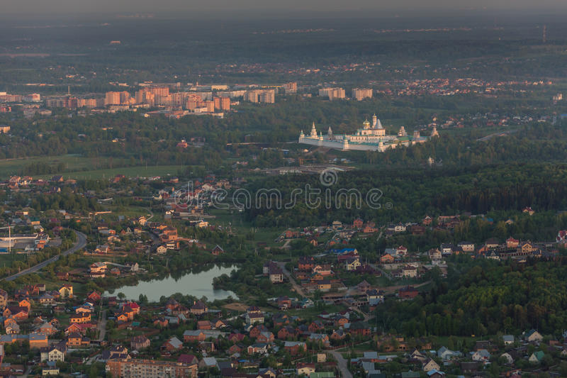 Moscow suburbs in the evening. Bird's-eye view stock images