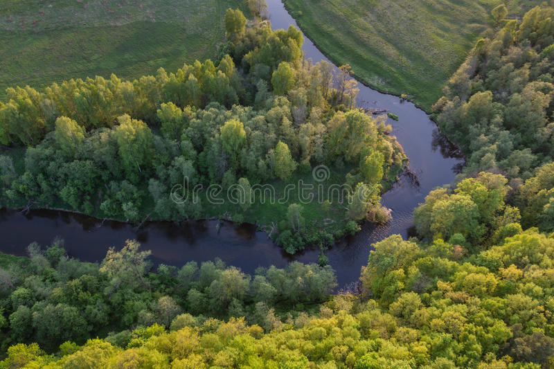 Moscow suburbs. In the evening birds-eye view royalty free stock photography