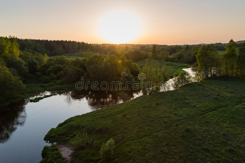 Moscow suburbs. In the evening birds-eye view stock photography