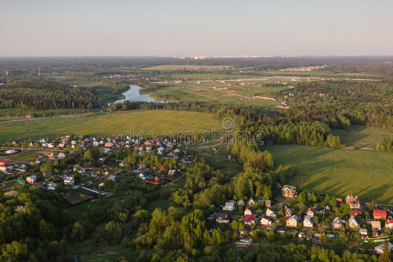 Moscow suburbs. In the evening birds-eye view royalty free stock photos