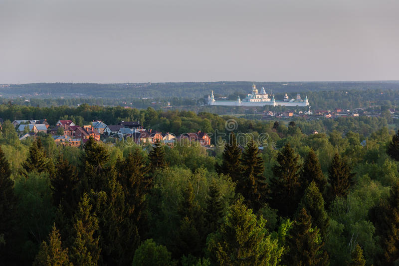 Moscow suburbs. In the evening birds-eye view royalty free stock photo