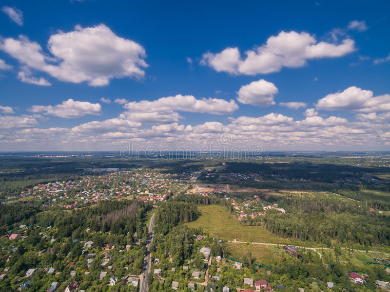 Moscow suburbs in summer. (bird eye view royalty free stock images