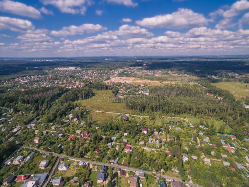 Moscow suburbs in summer. (bird eye view stock photos