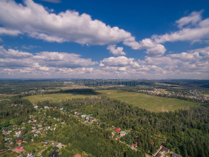 Moscow suburbs in summer. (bird eye view stock photo