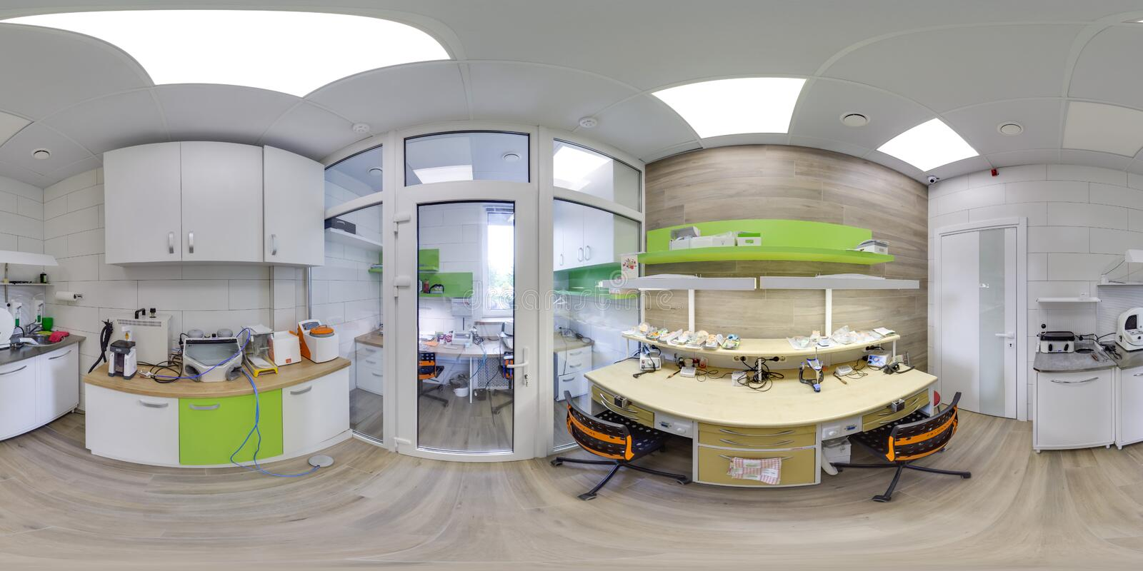 MOSCOW - SUMMER 2018, 3D spherical panorama with 360 viewing angle of the green dental office. Ready for virtual reality. Full equ stock photos