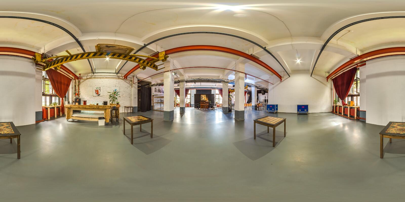 MOSCOW - SUMMER 2018, 3D spherical panorama with 360 viewing angle of the green modern dental office. Ready for virtual reality. F stock image