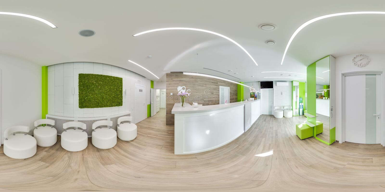 MOSCOW - SUMMER 2018, 3D spherical panorama with 360 viewing angle of the green modern dental office. Ready for virtual reality. F royalty free stock images