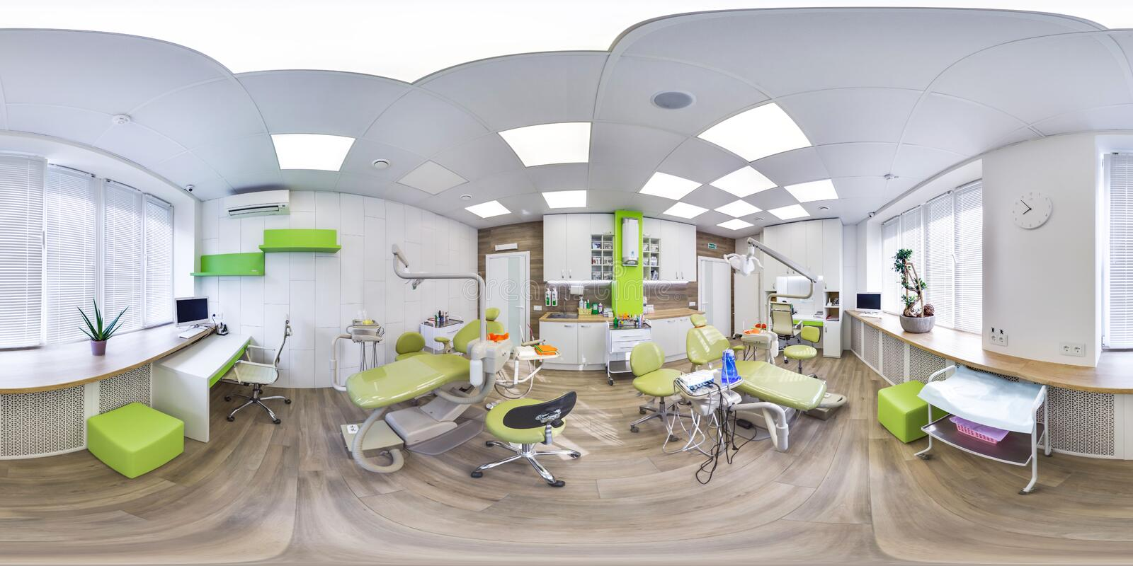 MOSCOW - SUMMER 2018, 3D spherical panorama with 360 viewing angle of the green modern dental office. Ready for virtual reality. F royalty free stock photography