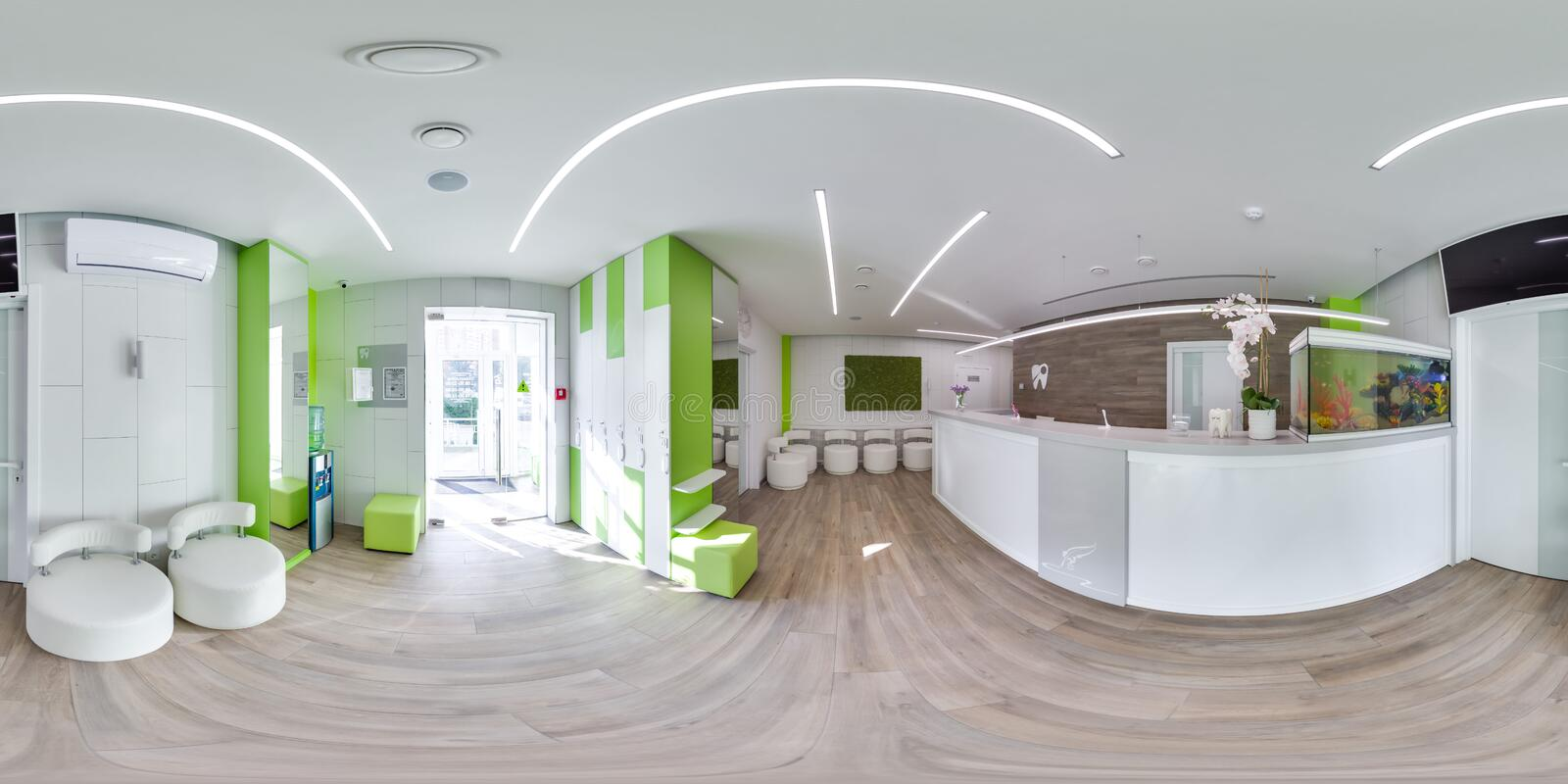 MOSCOW - SUMMER 2018, 3D spherical panorama with 360 viewing angle of the green modern dental office. Ready for virtual reality. F stock photos