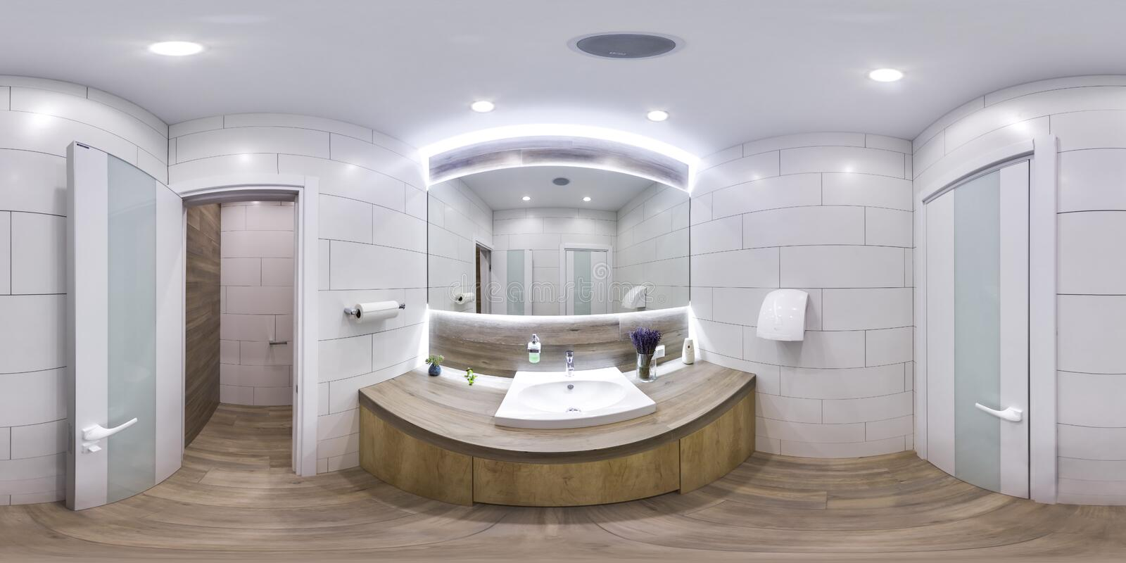 MOSCOW - SUMMER 2018, 3D spherical panorama with 360 viewing angle of the Interior of a modern bathroom with sink and mirror. Read royalty free stock image