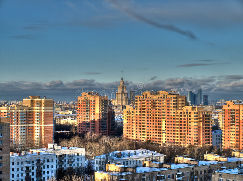Moscow sunset view royalty free stock image