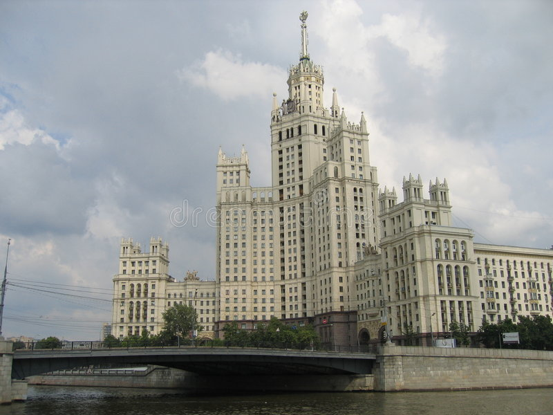 Download Moscow, Tall house stock image. Image of river, bridge - 410821