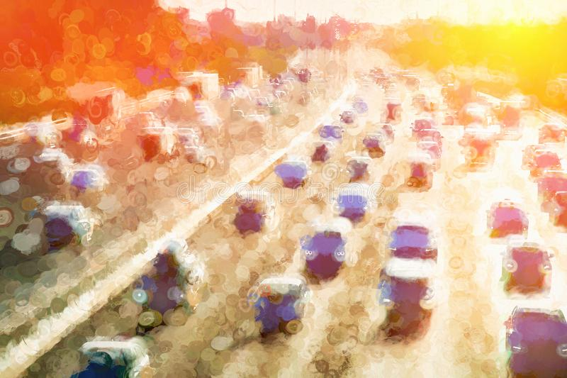 Moscow traffic jam dramatic light leak illustration background. Diagonal orientation vivid vibrant bright spacedrone808 color rich composition design concept royalty free stock image