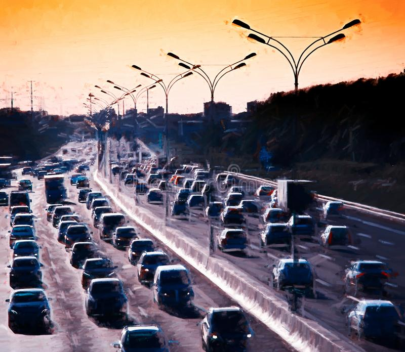 Moscow traffic jam painting illustration background. Diagonal orientation vivid vibrant bright spacedrone808 color rich composition design concept element royalty free stock photos