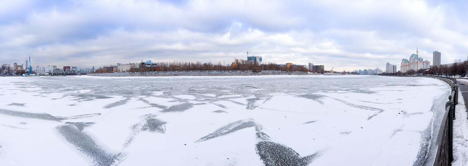 Moscow, the urban area Nagatino,. The abandoned territory of the former ZIL, the Southern federal district. The river under ice stock image