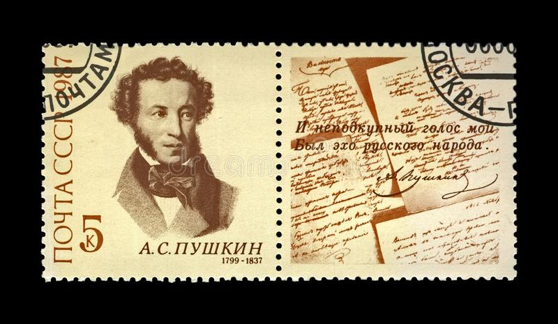 Pushkin Alexander, famous russian poet, fairy tale and verse writer, USSR, circa 1987. MOSCOW, USSR - CIRCA 1987: canceled stamp printed in the USSR shows famous royalty free stock images