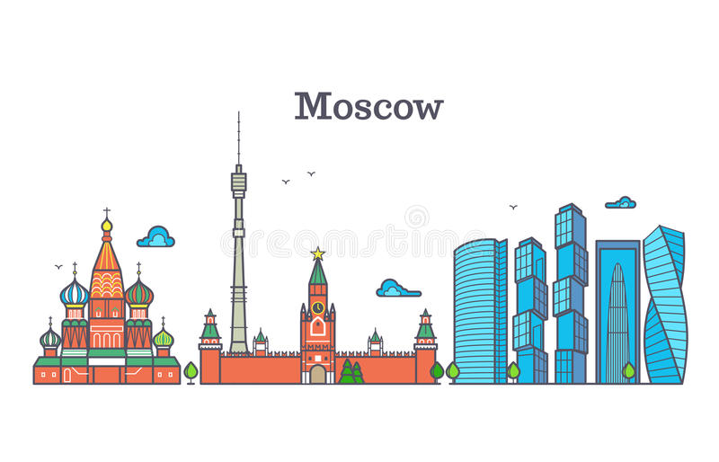 Moscow vector line panorama, modern city skyline, russia outline symbol, flat urban landscape vector illustration