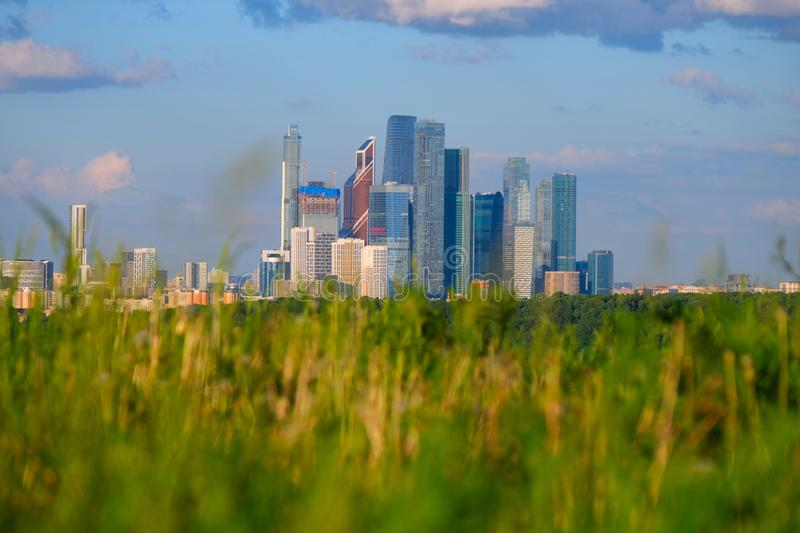 Moscow, view of the area of skyscrapers through the grass.  stock image