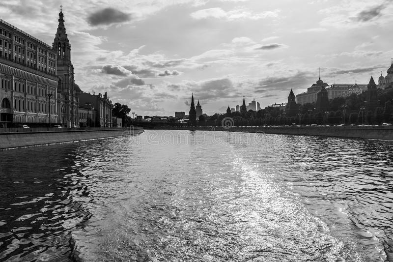 Riverfront in Moscow, Russia royalty free stock photos