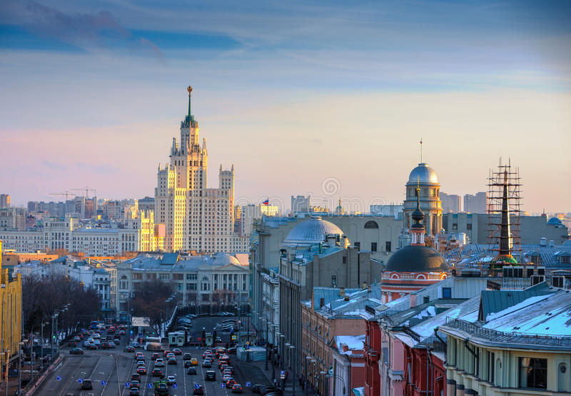 Moscow, view of the skyscraper on Kotelnicheskaya embankment. And in the area of Ilyinsky gate stock images