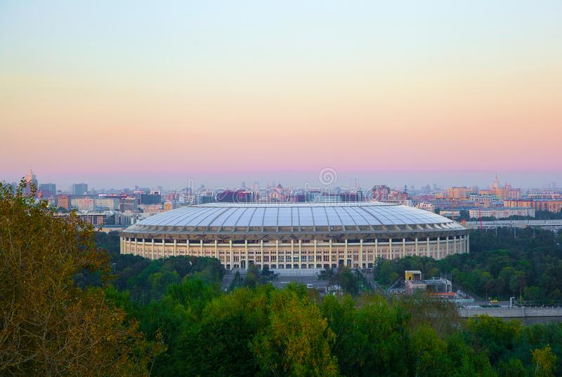 Moscow, Vorobyovy Gory Sparrow Hills. Recreation complex Luzhniki. Moscow, Vorobyovy Gory Sparrow Hills. Observation deck. Recreation complex Luzhniki stock photo