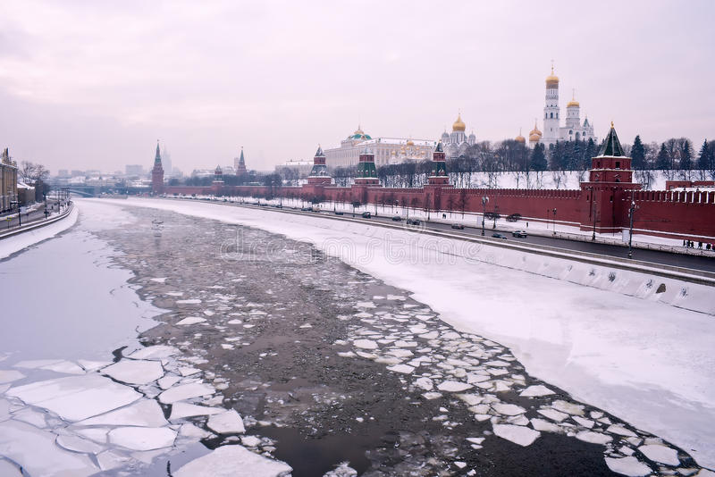 Moscow winter river Kremlin royalty free stock photography
