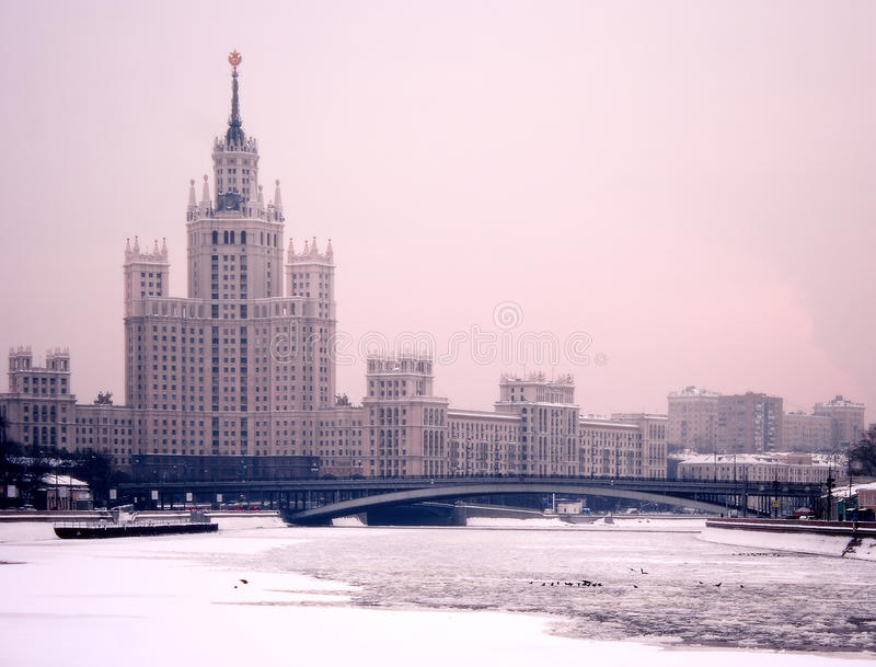 Moscow winter twilight royalty free stock image