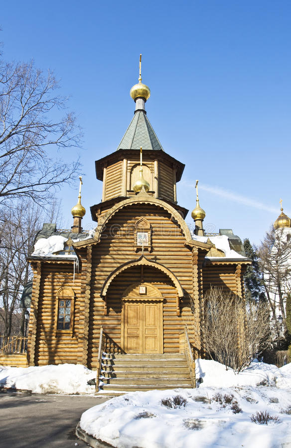 Moscow, wooden chapel royalty free stock photos