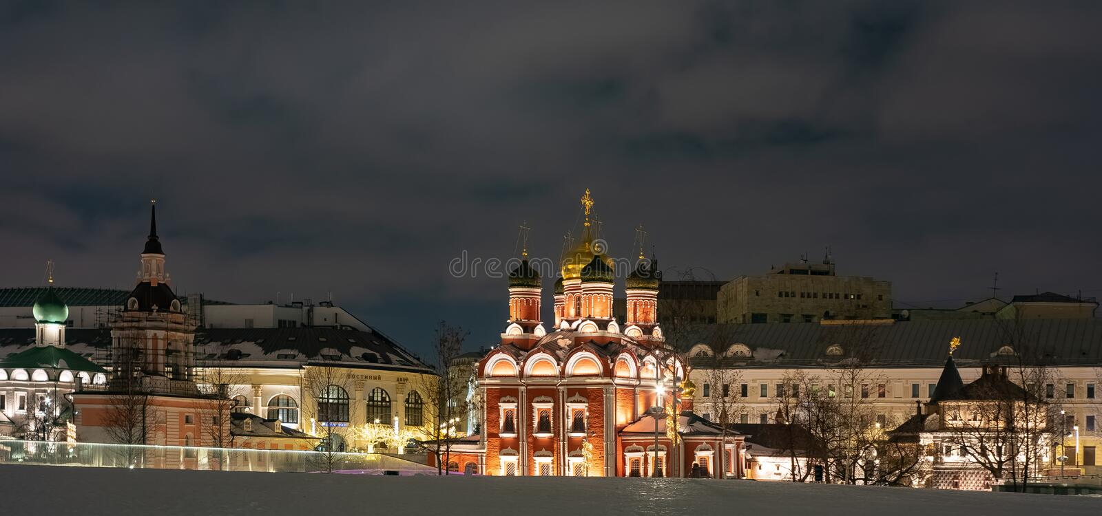 Moscow . Zaryadye Park,View of the Znamensky Cathedral,S t . Russia. royalty free stock photography