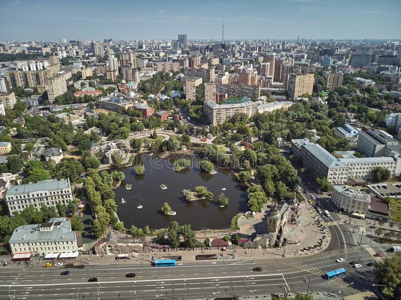 Moscow zoo on barrikadnaya station. High aerial panoramic view from drone. Moscow, Russia. Summer. Moscow zoo on barrikadnaya metro station. High aerial stock image