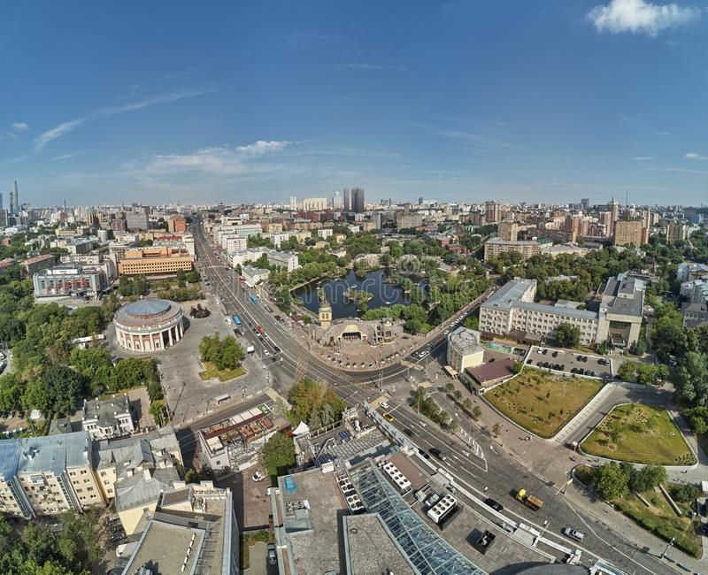 Moscow zoo on barrikadnaya station. High aerial panoramic view from drone. Moscow, Russia. Summer. Moscow zoo on barrikadnaya metro station. High aerial royalty free stock photo
