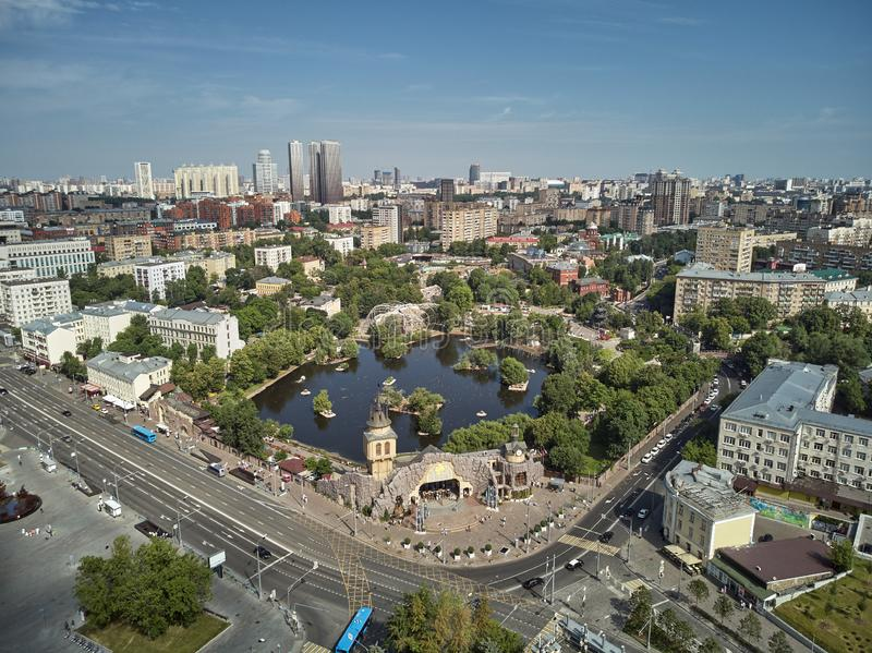 Moscow zoo on barrikadnaya station. High aerial panoramic view from drone. Moscow, Russia. Summer. Moscow zoo on barrikadnaya metro station. High aerial stock images