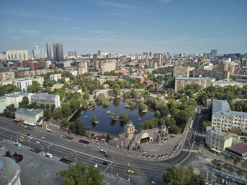 Moscow zoo on barrikadnaya station. High aerial panoramic view from drone. Moscow, Russia. Summer. Moscow zoo on barrikadnaya metro station. High aerial stock photography
