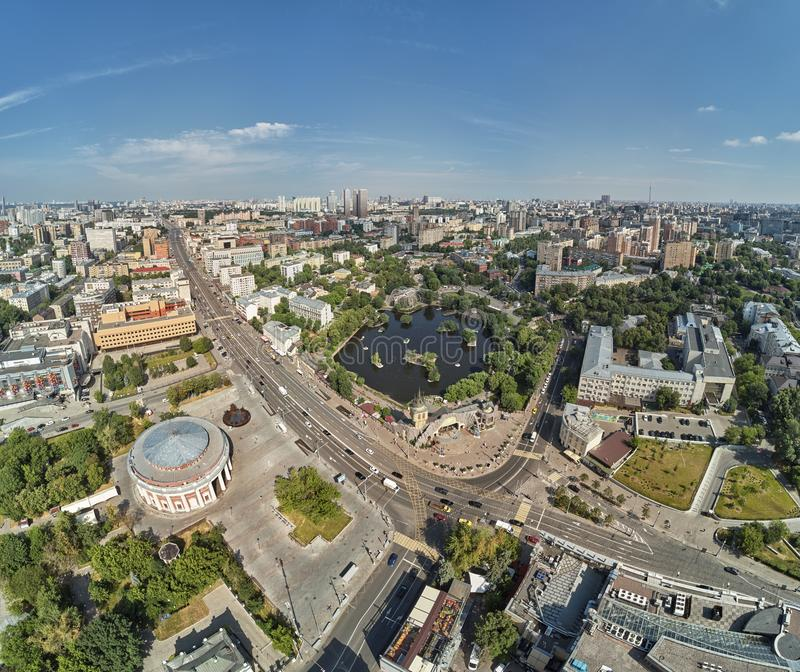 Moscow zoo on barrikadnaya station. High aerial panoramic view from drone. Moscow, Russia. Summer. Moscow zoo on barrikadnaya metro station. High aerial royalty free stock photography